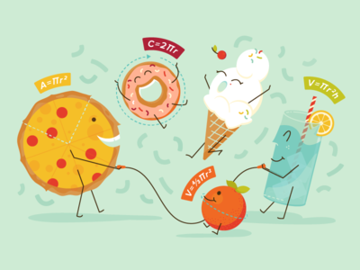 Pi! straw illustration cherry jump rope water orange ice cream celebration pi donut pizza