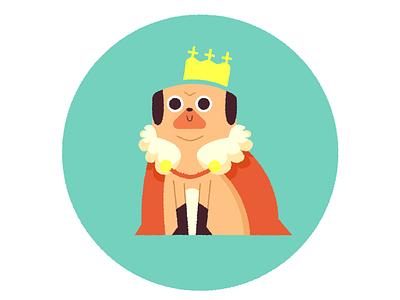 King of Pugs king sticker illustration dog pug