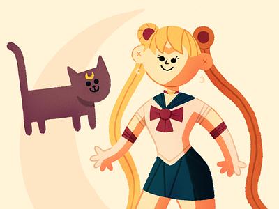 Usagi moon cat illustration procreate sailor moon