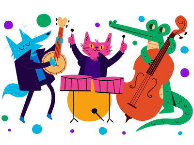 Animal Sounds procreate illustration band music bango cello drums alligator cat wolf