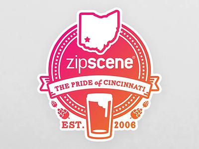 UC Hackathon Sticker cincinnati beer gradient swag zipscene sticker