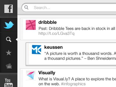 iPad TabBar & Search 3d design interface apple grey mobile ios ui ipad app keussen button twitter facebook search menu storify