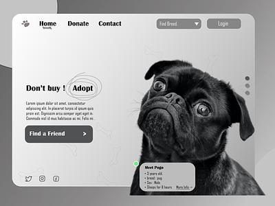 Dog Adoption Website. vector grey ux graphic design dog adopt webiste web design website dog logo pug adoption dog website black dog figma design
