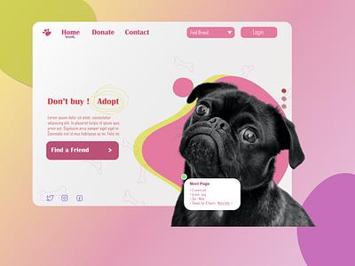 A Dog Website red pink dog website adoption breed dog vector branding logo figma design
