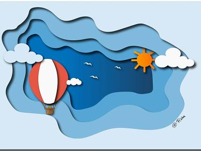 Paper Cut - Adobe Illustration branding drop shadow cut paper 3d blue paper cut ui graphic design logo adobe illustration vector illustration design