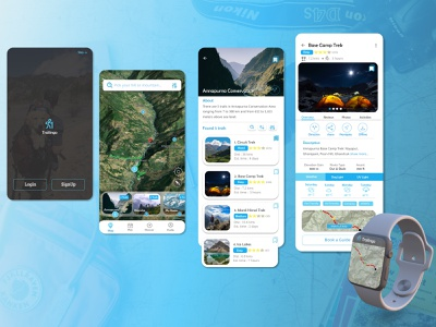 Hiking Trails through Mountains maps branding watch smart watch mobile app app product ux mobile design blue mountains hiking ui logo figma design