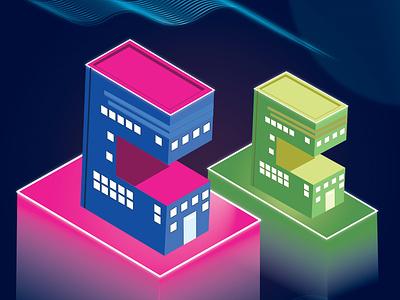Isometric Buildings illustrator isometric icon illustration vector graphic design design
