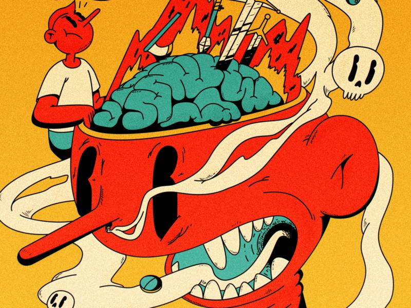 migraine :/ brain burning migraine mellowmustard marcus melin marcus cartoon old illustration flat 2d