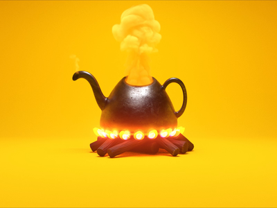 Fresh pot ☕ animation can open fire logs fire magic tea coffee pot smoke turbulence fd redshift cinema 4d