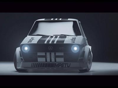 PROJECT GTI Packshot 3d modeling marcus melin 3d art 3d animation könig stripes gti golf volkswagen golf gti redshift3d redshift race race car car cinema4d c4d 3d