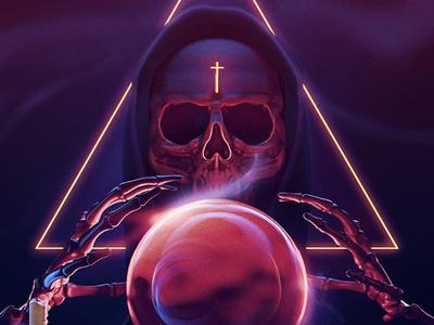 Horror movie poster cinema 4d redshift fortuneteller death prediction skull 90 80 poster movie horror