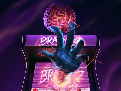 Brain Z hand arcade game brain poster scary zombies