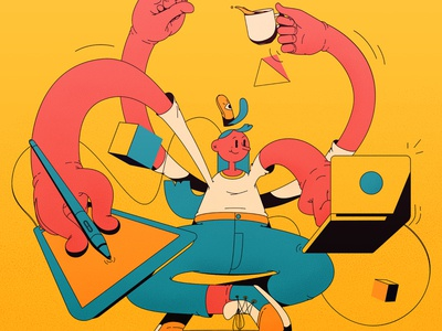 Multitasking colors girl wacom design guru coffee designer multitasking