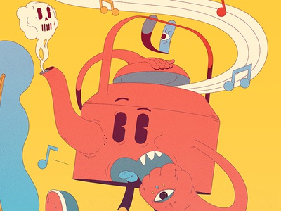 Kettle & Co mellowmustard melin marcus colors old cartoon teapot death music kettle