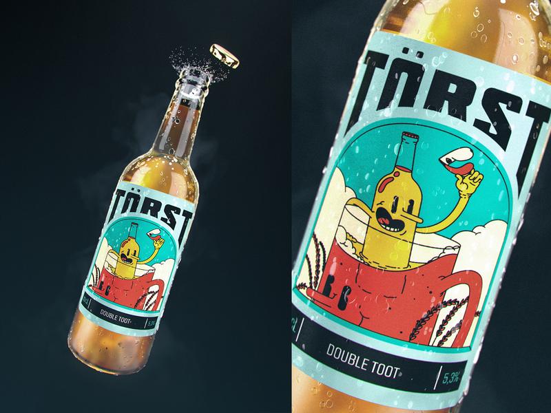 TÖRST BEER logo design illustration 3d art marcus melin mellowmustard törst branding beer x-particles redshift cinema 4d 3d