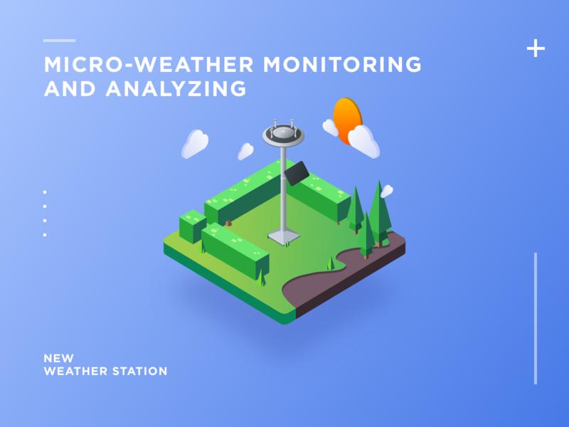 micro-weather monitoring  and analyzing 等距图标 插图 2.5d