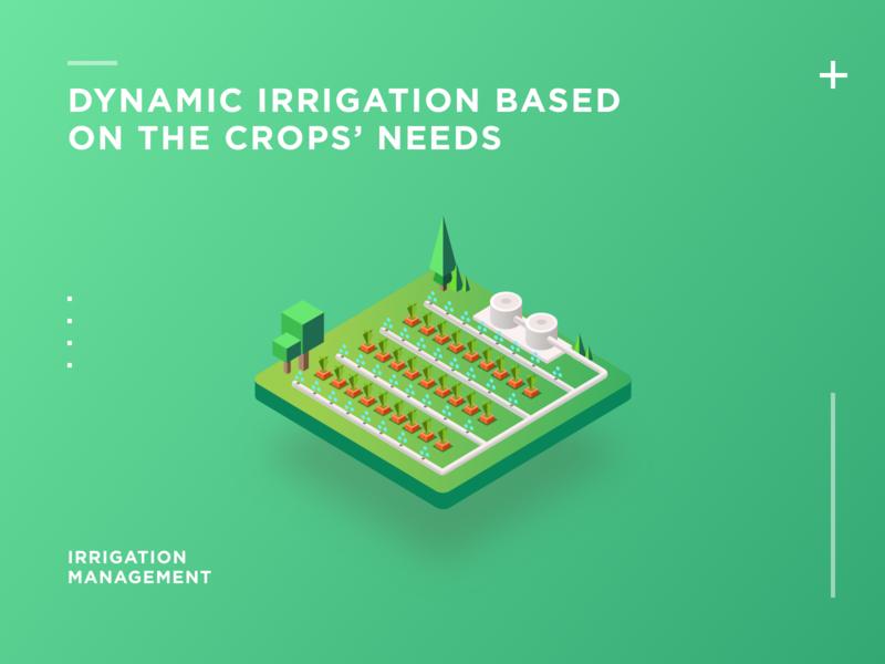 Dynamic Irrigation Based  On The Crops  Needs irrigation 等距图标 插图 2.5d