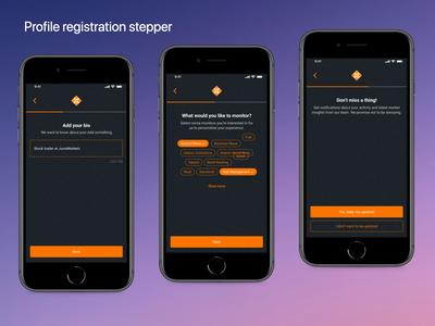 Multi step profile registration registration multi step stepper mobile apps dark theme islamic finance