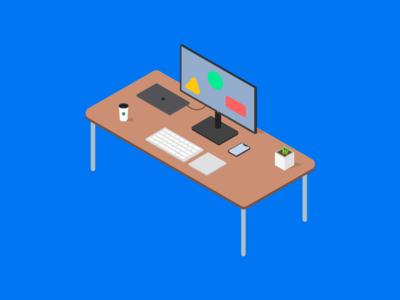 Side Hustle - Header Illustration vector iphone x iphone plant coffee macbook computer isometric illustration isometric illustration
