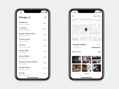 Creative Juice - Preview #1 list view map view coffee app city guide minimal iphone city coffee list map ux ui
