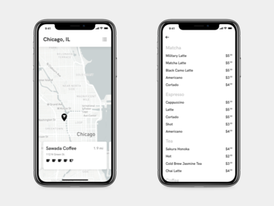 Creative Juice - Preview #2 list view map view coffee app city guide minimal iphone city coffee list map ux ui