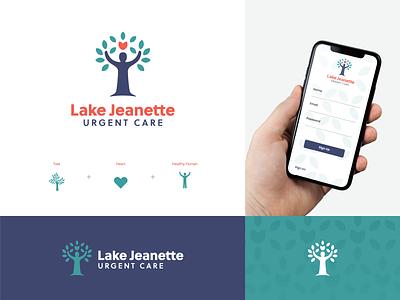 Lake Jeanette Urgent Care Branding people human leaves medical urgent care healthcare tree doctor heart health logo design vector logo graphic design icon design branding