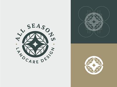 All Seasons Logo Design circle logo circle fall leaf leaves landscaper landscape landcare seasons geometric grid logo grid logo design vector logo graphic design icon design branding
