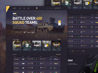 Gaming Tournaments and Events - E-Sports Website web webapps webapp squad tournament event landing ux ui gaming esports website