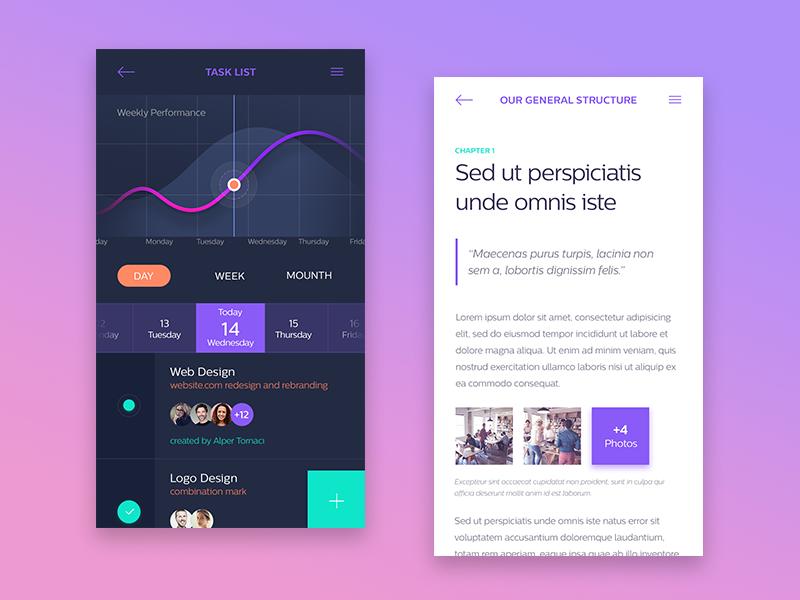 In-House App (Task List / Orientation Detail) dashboard chart task ux ui mobile list ios design concept app