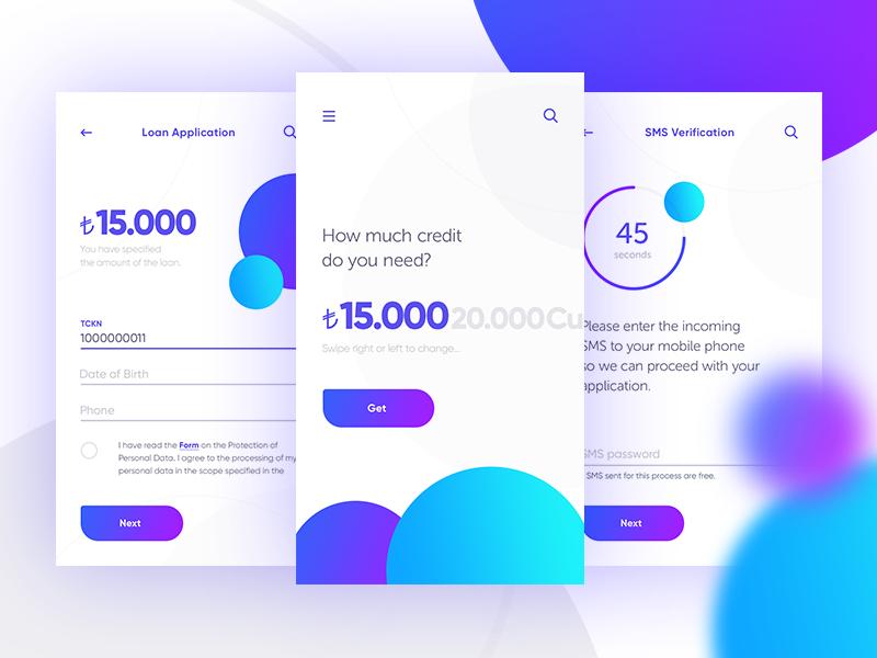 Loan Application finance android ios app design ux ui swipe credit money bank loan