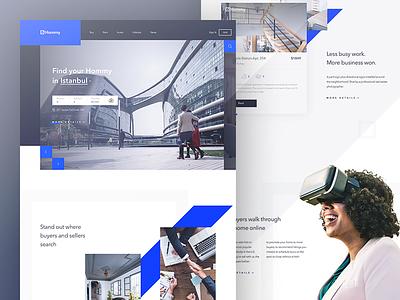 Hommy - Real Estate Landing Page hero layout find website design web house estate real landing ux ui