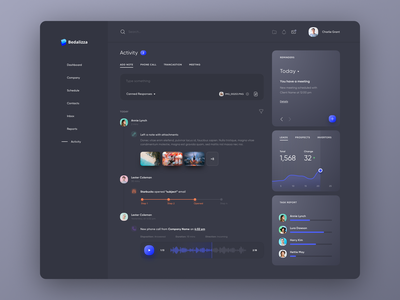 CRM Dashboard - Activity Page crm clean light dark design web feed activity dashboard ux ui