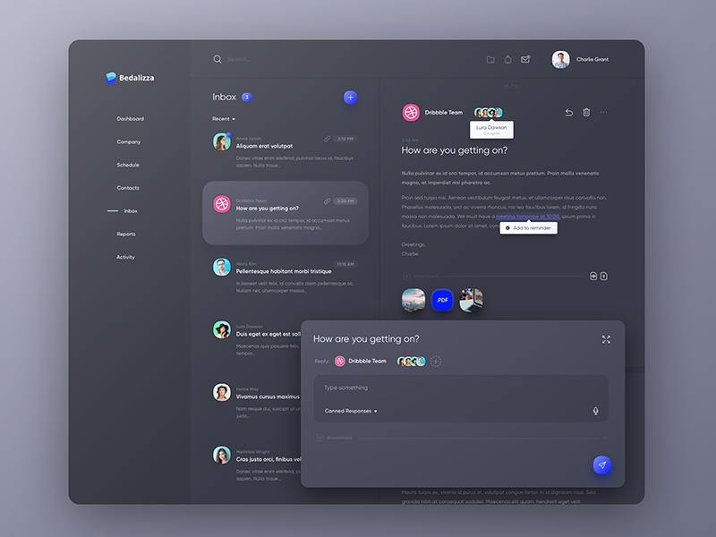 CRM Inbox - Dark Theme ui ux dashboard inbox message web design dark mail clean crm