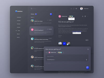 CRM Inbox - Dark Theme ui ux dashboard inbox message web design dark mail clean crm