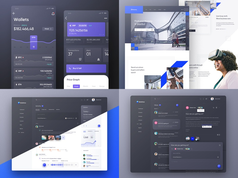 2018 landing website dark black design web android ios ux ui dashboard app best trends 2018