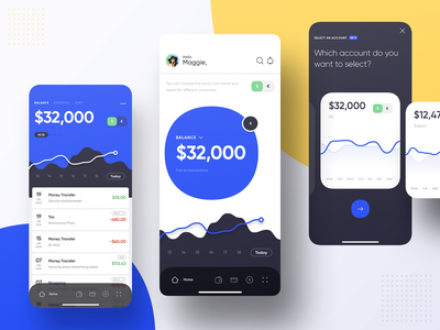 Mobile Banking - Dashboard dark clean chart money mobile bank finance dashboard ios design app ux ui
