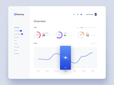 Hommy - Dashboard (Overview Page) overview clean light dark web design ux ui dashboad
