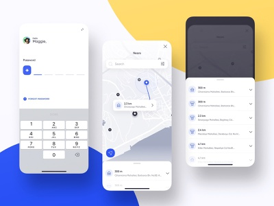 Mobile Banking - Login / Map chart map form login bank finance dashboard ios design app ux ui