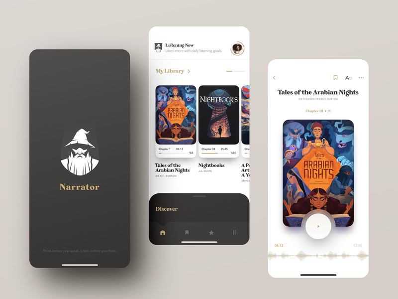 Narrator Audiobook Store ebook book audiobook mobile ios design app ux ui