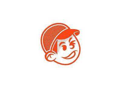 Lucky baseball kid character vintage retro smile halftone logo mascot boy chap cheeky wink lucky hat cap baseball
