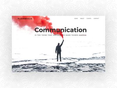 Snowmedia homepage landing page hero image web design communication