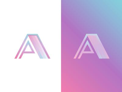 PA prism gradient refraction light glass mark logo prism pa
