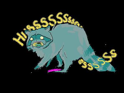 Davie the Raccoon animals character design weird dark cartoons cartoon fresco photoshop vector design illustration