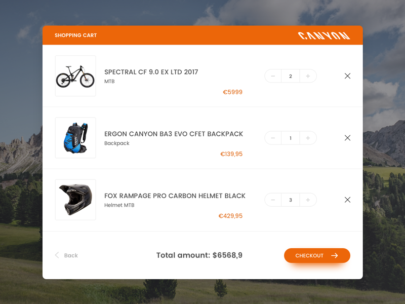 Daily UI #058 - Shopping Cart bike mountain mtb list buy e-commerce cart shopping ux ui daily dailyui