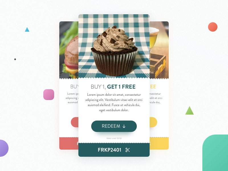 Daily UI #061 - Redeem Coupon free card offer discount sale promo redeem coupon ux ui daily dailyui