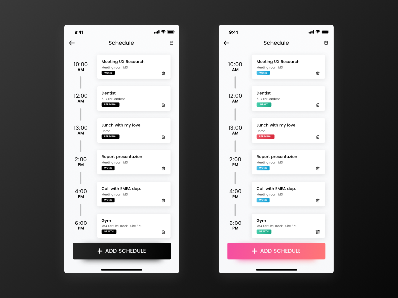 daily ui 071 schedule by francesco paradiso dribbble dribbble