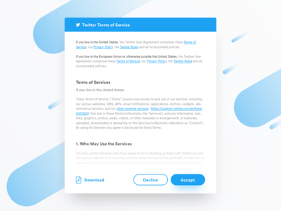 Daily UI #089 - Terms of Service dailyui daily ui ux ui inspiration concept minimal modal clean twitter tos terms of services