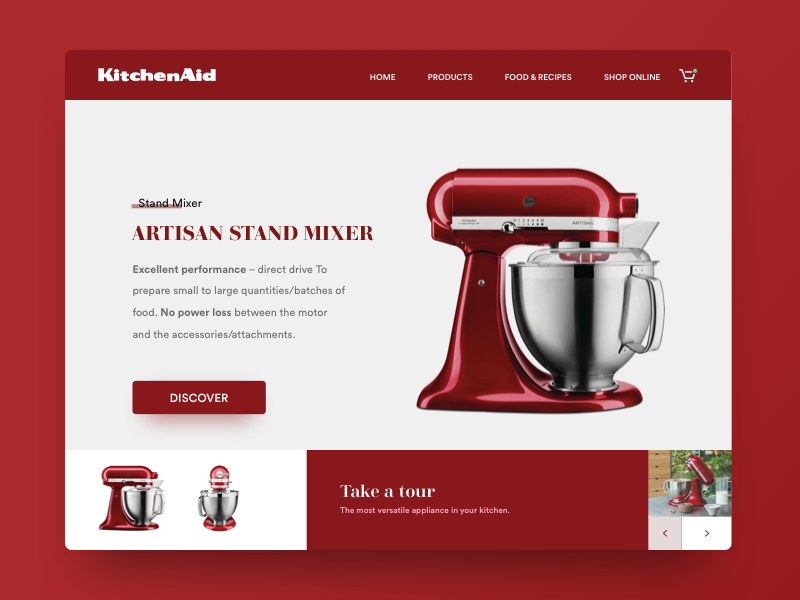Daily UI 095 - Product Tour product tour vintage red kitchenaid kitchen dailyui daily ui ux ui concept minimal redesign
