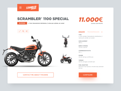 Daily UI 096 - Currently In-Stock motorcycle ecommerce in stock ducati scrambler moto ducati daily ui minimal dailyui ux ui