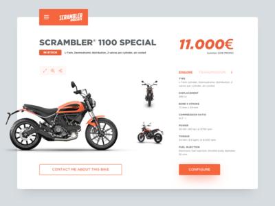 Daily UI 096 - Currently In-Stock motorcycle ecommerce in stock ducati scrambler moto ducati daily ui minimal dailyui ux ui